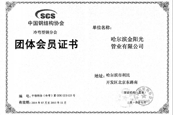 波纹钢管协会团体会员证书